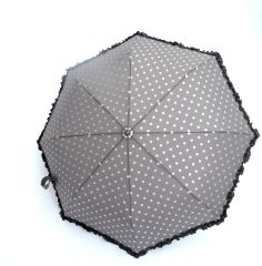 folding umbrella - grey silver polka dots - manual