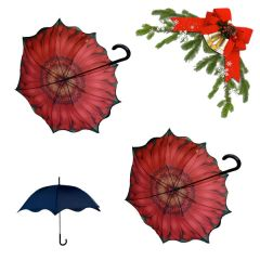 holiday deal combo - 2 orange sunflower floral pattern umbrellas 25% off