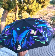 heavy duty compact umbrella - butterflies
