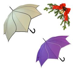 "holiday deal combo - 1 cream and 1 purple ""Shaped like a flower"" umbrella 25% off"