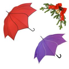 "holiday deal combo - 1 red and 1 purple ""Shaped like a flower"" umbrella 25% off"
