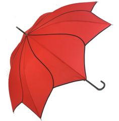 Red/black trim petal shaped umbrella parasol