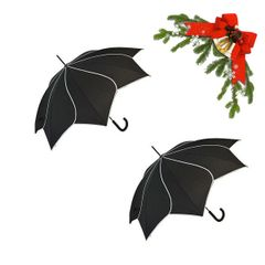 "Holiday deal combo - 2 black ""Shaped like a flower"" umbrellas 25% off"