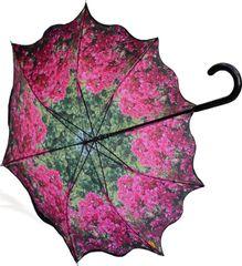 Stick Style Umbrella/Parasol - Double layer - Bougainvillea Floral pattern inside