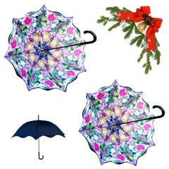 holiday deal combo - 2 flower medley floral pattern umbrellas 25% off