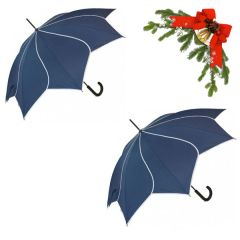 "holiday deal combo - 2 navy ""Shaped like a flower"" umbrellas 25% off"