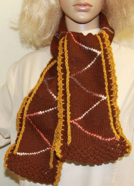 Hand Knit Scarf Brown And Gold Nw Camo