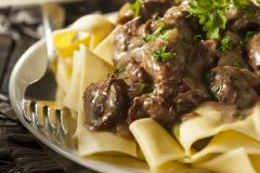 Sold Out! Thur., Feb. 21st: Sous Vide Braised Short Rib Stroganoff with Black Conica Morel Mushrooms over Homemade Pappardelle (Vegetarian Pasta w/ Morels also Available) - (Time to Cook: 30 Min. / Cook by Day: Sunday)