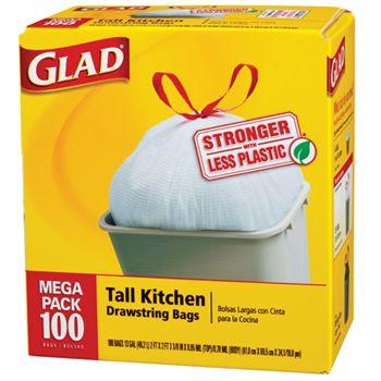 Glad Drawstring Tall Kitchen Bags 13 Gal. 100ct