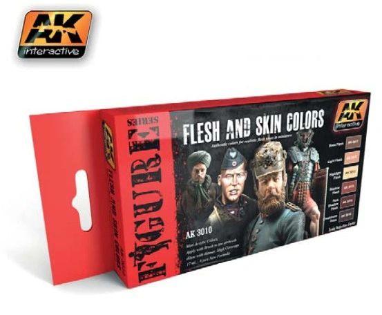 Figure Series: Flesh & Skin Colors Acrylic Paint Set (6 Colors) 17ml Bottles - AK Interactive 3010