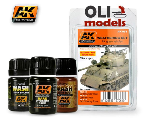 Green Vehicle Washes & Grime Enamel Paint Set (24, 45, 46) - AK Interactive 64