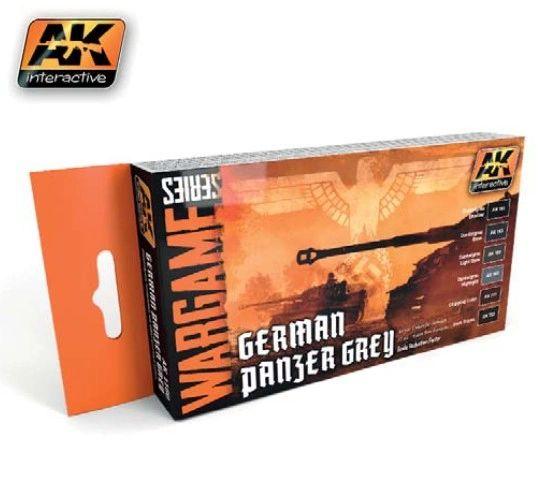 Wargame Series: German Panzer Grey Acrylic Paint Set (6 Colors) 17ml Bottles - AK Interactive 1160