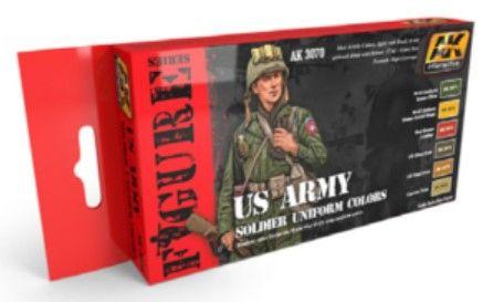 Figure Series: US Army Soldier Uniform Acrylic Paint Set (6 Colors) 17ml Bottles - AK Interactive 3070