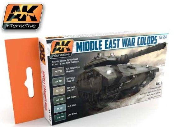 Middle East War Vol.1 Acrylic Paint Set (6 Colors) 17ml Bottles - AK Interactive 564