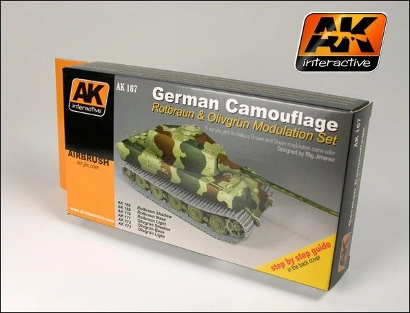 German Camouflage Green & Brown Modulation Acrylic Paint Set (6 Colors) 17ml Bottles - AK Interactive 167