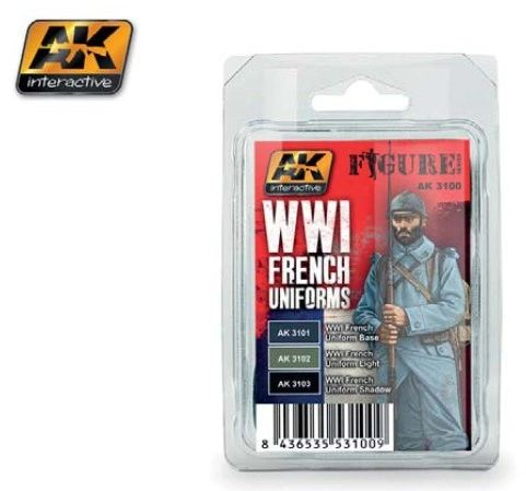 Figure Series: WWI French Uniforms Acrylic Paint Set (3 Colors) 17ml Bottles - AK Interactive 3100