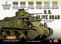 US Olive Drab Camouflage Acrylic Set (6 22ml Bottles) - Lifecolor CS11