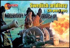 1/72 Thirty Years War Swedish Artillery (24 w/4 Guns) - MARS 72015