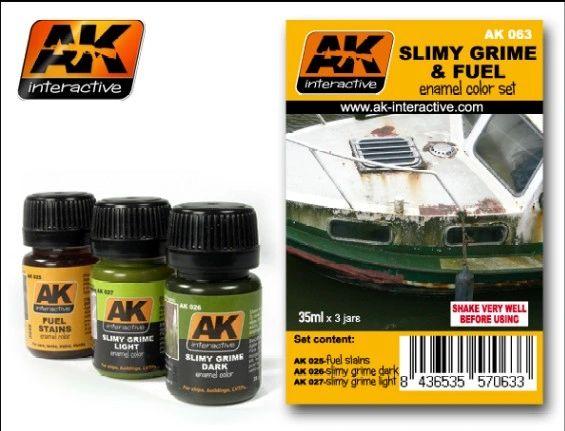 Slimy Grime & Fuel Stains Enamel Paint Set (25, 26, 27) - AK Interactive 63