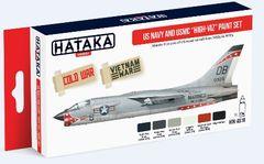 US Navy & USMC 1950s-1970s High-Viz Paint Set (6 Colors) 17ml Bottles - Hataka AS18