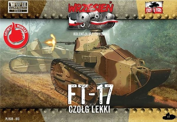 1/72 WWII FT-17 Light Tank w/Octagonal Turret & Machine Gun - First to Fight 013
