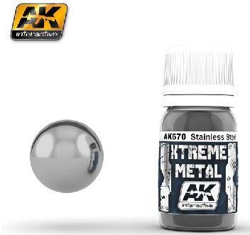 Xtreme Metal Stainless Steel Metallic Paint 30ml Bottle - AK Interactive 670
