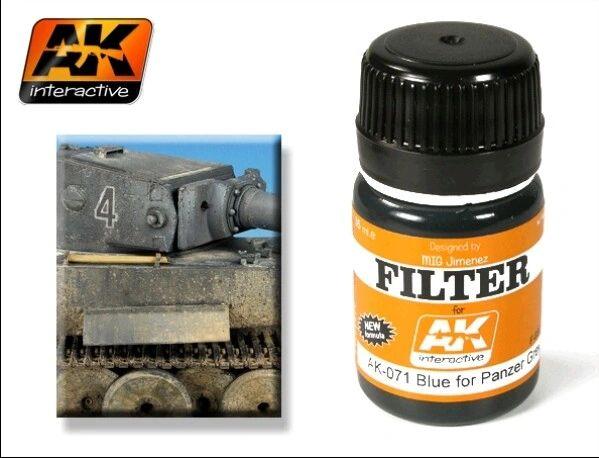 Filter Blue for Panzer Grey Enamel Paint 35ml Bottle - AK Interactive 71