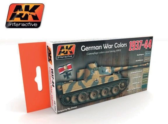 WWII German Camouflage War Colors 1937-44 Acrylic Paint Set (6 Colors) 17ml Bottles - AK Interactive 560