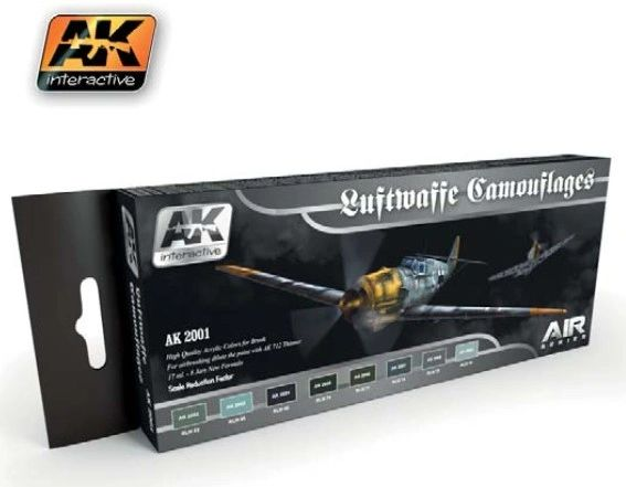 Air Series: Luftwaffe Camouflages Vol.1 Acrylic Paint Set (8 Colors) 17ml Bottles - AK Interactive 2001
