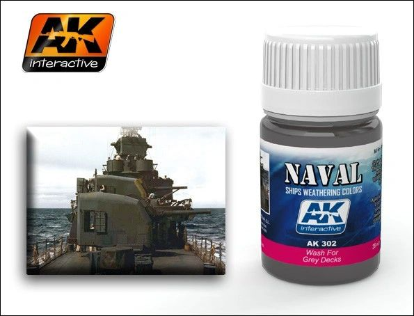 Grey Deck Wash Enamel Paint 35ml Bottle - AK Interactive 302