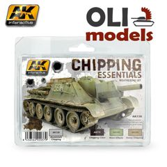 CHIPPING ESSENTIALS Weathering Paint Set 2x17ml & 2x35ml - AK Interactive 138