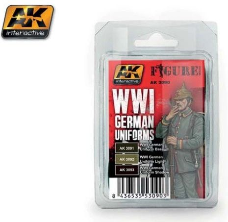Figure Series: WWI German Uniforms Acrylic Paint Set (3 Colors) 17ml Bottles - AK Interactive 3090