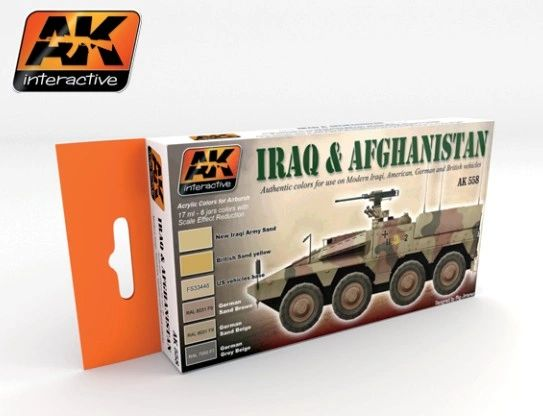 Iraq & Afghanistan Acrylic Paint Set (6 Colors) 17ml Bottles - AK Interactive 558