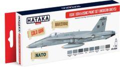USAF, USN & USMC Modern Greys Paint Set (8 Colors) 17ml Bottles - Hataka AS44