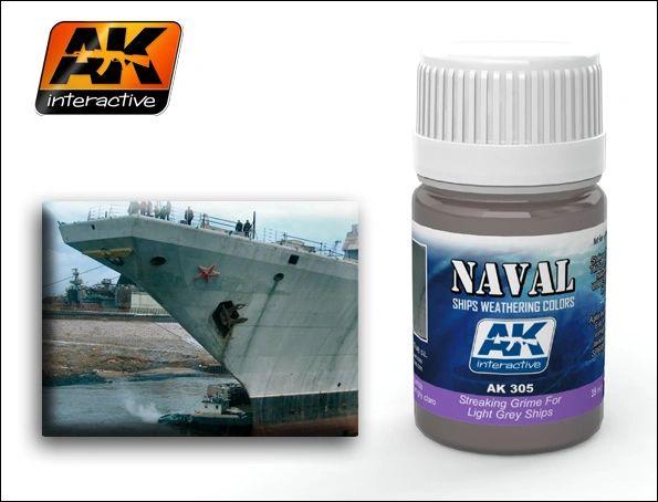 Light Grey Ships Streaking Grime Enamel Paint 35ml Bottle - AK Interactive 305