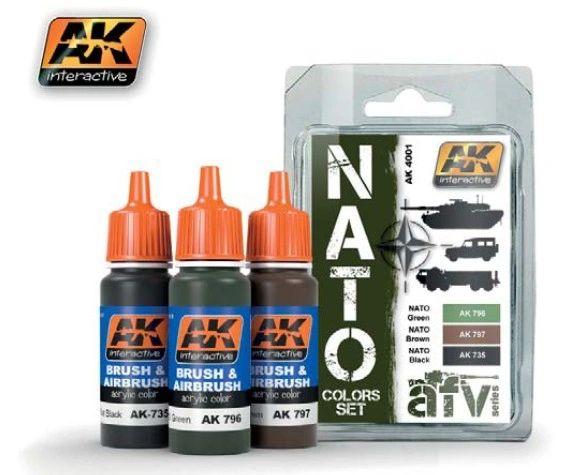 NATO AFV Colors Acrylic Paint Set (3 Colors) 17ml Bottles - AK Interactive 4001