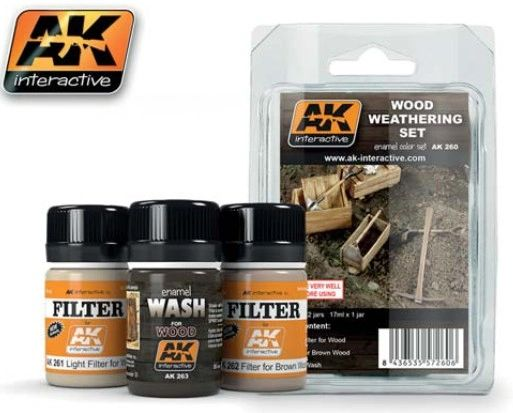 Wood Weathering Enamel Paint Set (3 Colors) 35ml Bottle - AK Interactive 260