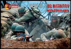 1/72 WWII US Infantry (32) w/37mm Guns (4) - MARS 72017