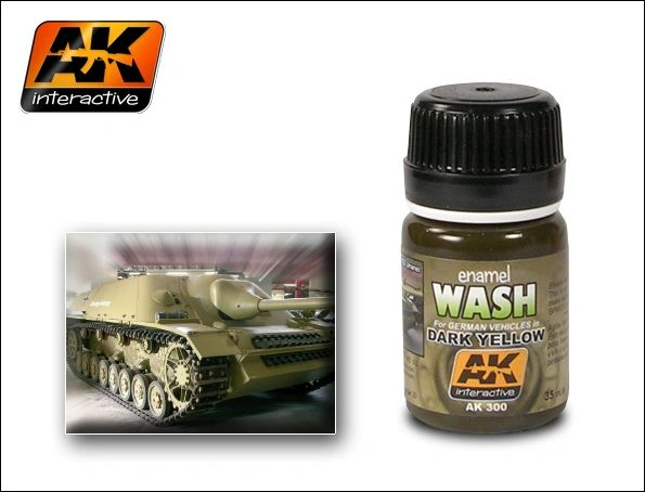 Dark Yellow Wash Enamel Paint 35ml Bottle - AK Interactive 300