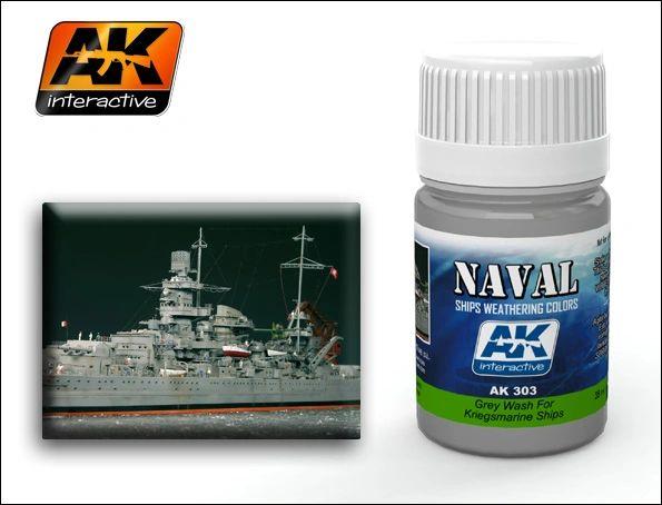 Kriegsmarine Ships Grey Wash Enamel Paint 35ml Bottle - AK Interactive 303