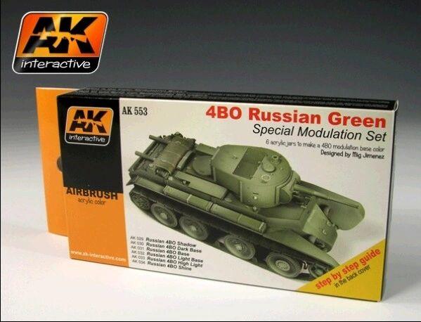 Russian Green 4BO Modulation Acrylic Paint Set (6 Colors) 17ml Bottles - AK Interactive 553
