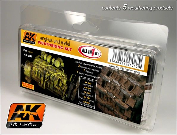 Engines & Metal Enamel Paint Set (82, 83, 84, 85, 86) - AK Interactive 87
