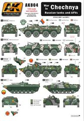 1/35 Chechnya War in Russian Tanks & AFVs Wet Transfer Decals - AK Interactive 804