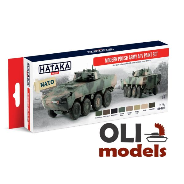 Modern Polish Army AFV Since 2000s Acrylic Paint Set 8x17ml HATAKA AS72