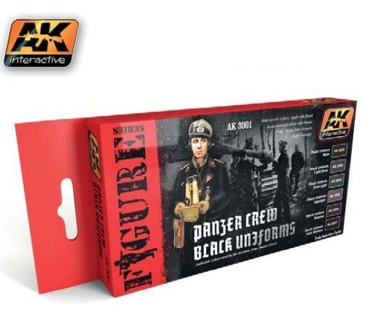 Figure Series: Panzer Crew Black Uniforms Acrylic Paint Set (6 Colors) 17ml Bottles - AK Interactive 3001