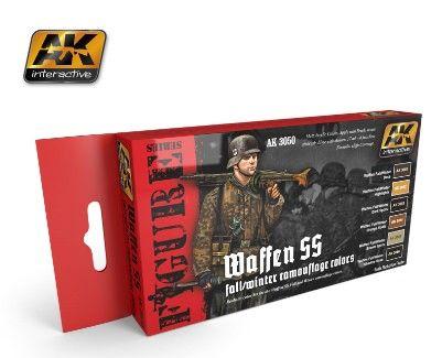 Figure Series: Waffen SS Fall/Winter Camouflage Acrylic Paint Set (6 Colors) 17ml Bottles - AK Interactive 3050