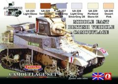 British WWII Middle East Vehicles Camouflage Acrylic Set (6 22ml Bottles) - Lifecolor CS16