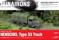 1/72 Spanish Civil War: Henschel Type 33 Truck (1) w/Driver (Resin) - Minairons 7215