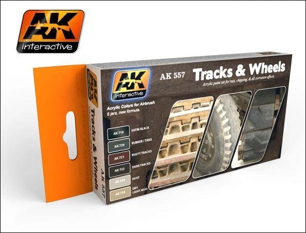 Track & Wheels Acrylic Paint Set (6 Colors) 17ml Bottles - AK Interactive 557