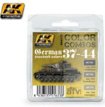 Color Combos: German Standard 37-44 Acrylic Paint Set (3 Colors) 17ml Bottles - AK Interactive 4172